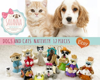 Dogs and Cats Nativity Set 11 pieces