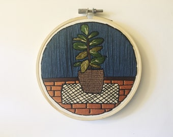 House Plant Scene, Embroidery Hoop Art, Navy and Orange, Rubber Plant, Navy Aesthetic, Orange Brick Floor, Boho Rug, Wall Art, Hoop Art