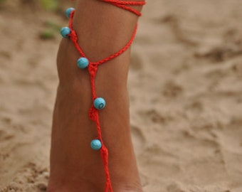 Red Crochet Barefoot Sandals with Turquoise gemstones, Nude shoes, Foot jewelry, Wedding, Victorian Lace, Sexy, Yoga, Anklet , Bellydance