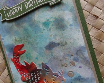 "Birthday card with oriental carp fish (koi): ""Happy Birthday"""