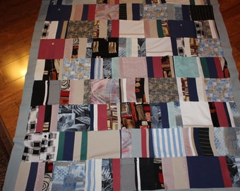 Memory Quilt of Dad's Shirts, memory quilt, shirt quilt, tshirt quilt, t shirt quilt, sympathy,remembrance, recycled clothes, memory blanket