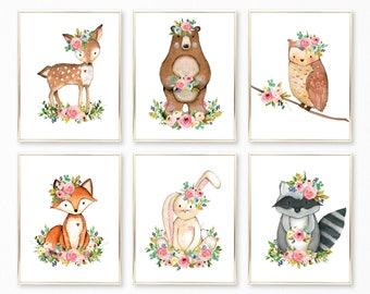 Woodland Nursery Art. Woodland Nursery. Woodland Nursery Decor. Woodland Nursery Prints. Watercolor Woodland Animals Prints. Woodland Floral