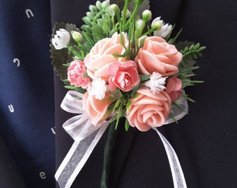 Pink boutonniere,  Pink and white boutonniere,  Pink wedding,  Pink Prom boutonniere