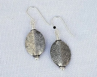 Textured Sterling Silver Oval Earrings