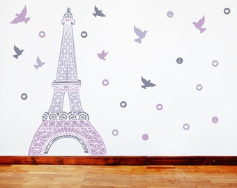 Paris Wall Decals   Eiffel Tower Fabric Wall Decals Purple