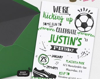 Soccer invitation etsy soccer birthday party invitations all star sports birthday party printable invitations watercolors birthday invitations filmwisefo Image collections
