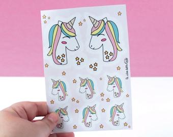 Unicorn Sticker Sheet - Stickers  - Pink