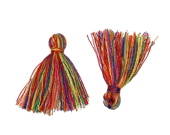 5 tassels multicolor 30mm with cotton yarn