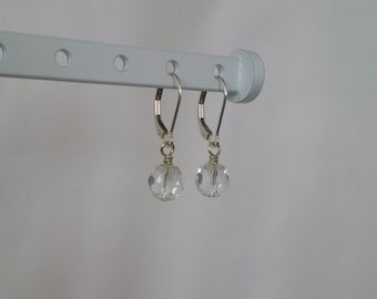 Crystal Clear Quartz on Silver Leverback Earrings