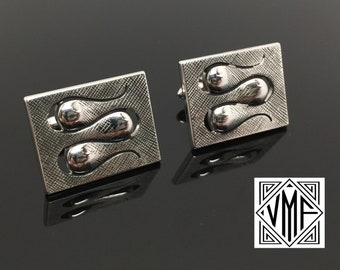 Vintage cufflinks Mad Men midcentury modern silver Swank cuff links, 1950s 1960s men's accessories, modernist mod MCM excellent condition