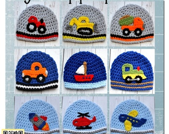 Boy Applique PATTERNS - Crochet - Construction, Air, Trains, Farm, Water