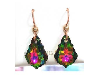 Rainbow Swarovski Baroque Crystal Earrings on Gold Filled French Hooks