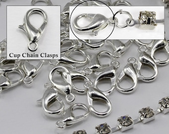 Silver Crystal Rhinestone Cup Chain Clasps For Jewelry Making - 20 Pieces