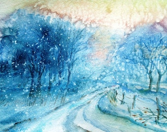 """Watercolor painting """"The Way Home"""" Original  painting 12 x 8 ins Snowscene, Chilly pink sunset snowscene, Winter"""