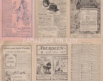 Instant download: Antique vintage french ads for scrapbooking ephemera, old paper digital pack 01