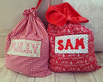 Christmas Santa sack personalised with child's name or any phrase red and white scandi shabby chic Custom made to order