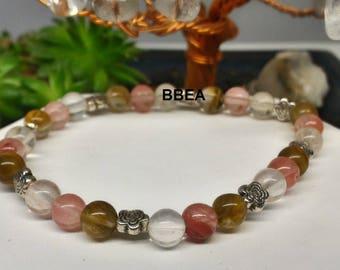 Watermelon Tourmaline beads 6mm and Tibetan Silver Flower Beads Bracelet