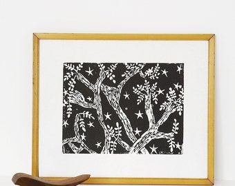 "evening trees linoleum block print - 11"" x 14"" wall art"