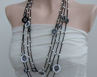 Crochet necklace Boho Lariat white black and silver flowers and beads black white and silver crochet Lariat necklace