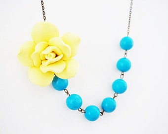 Bridesmaid Gift Bridesmaid Jewelry Yellow Necklace Flower Necklace Turquoise Necklace Wedding Necklace Bridal Necklace Statement Necklace