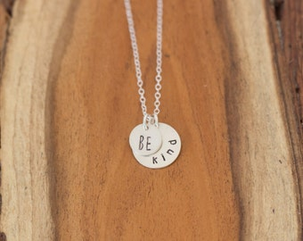 Be Kind Necklace, Be Kind Double Pendant Necklace, Sterling Silver Pendant Necklace, Be Kind, Be Kind Silver Jewelry