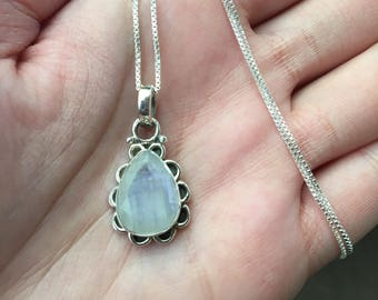 "Moonstone Sterling Silver Pendant with 20"" Box Chain, Moonstone Jewelry, Moonstone Pendant with Chain"