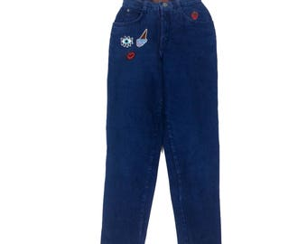 Vintage 80's MOM JEANS high waisted Sz 0 dark blue denim with patches straight legs loose leg patch pants denim jeans cotton denim jeans