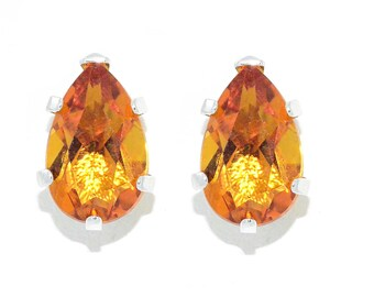 14Kt White Gold Orange Citrine Pear Shape Stud Earrings