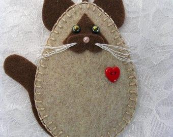 Cat Ornament, Siamese Cat Ornament, Felt Cat Ornament