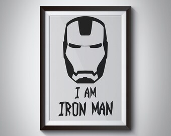 Iron Man Black White Print, Art Print, Wall Art, Poster, Motivational Quote, marvel quote, Avengers