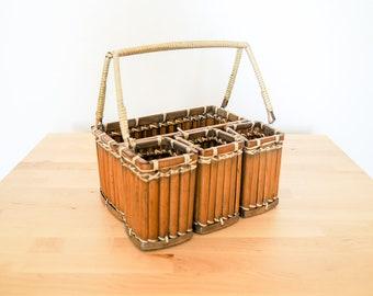 Bamboo Basket Caddy • Tiki Lounge Organization • Pirate Home Decoration • Rattan Kitchen Storage • Wicker Picnic Box • Napkin Utensil Holder