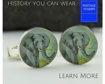 Elephant Cuff Links for Men. Vintage African Stamp Elephant Cufflinks (Cuff Links). Ideal Custom Cufflinks for Your Wedding.