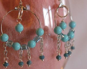 Crystal hoop earrings pendants and gemstone blue