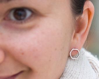 Hexagon studs - Sterling silver stud earrings - minimal, simple every day earrings