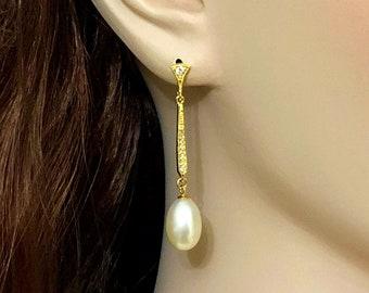 Freshwater Pearl Bridal Earrings, Pearl Drop Wedding Earrings, Cz Wedding Jewelry, Gatsby Bridal Jewelry, Art Deco Earrings, LUSTER