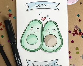 """Let's Avocuddle Original 4""""x6"""" Watercolour Illustration"""