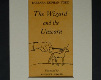 1960s Vintage Title Page Print of the Wizard and the Unicorn, Literary Decor, Available Framed, Magical Art, Miniature Horse Grooming Gift
