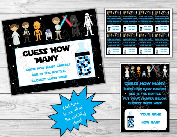 Star Wars Baby Shower Games Guess How Many Starwars Printable