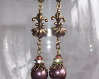 Swarovski Pearl Drop Earrings, Plum Earrings, Victorian Style Earrings, Boho Earrings, Vintage Earrings, Handmade Earrings