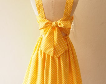Size M -Fairy Wing Yellow Vintage Sundress Back Bow Backless Dress Polka Dot Dress Summer Dress Bridesmaid Dress Retro Rockabilly Dress