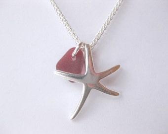 Sea glass necklace - sterling silver seaglass jewelry Starfish Seaglass sterling beach Glass necklace Beach Glass Jewelry