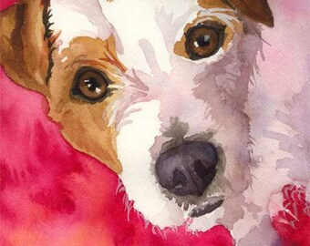 Jack Russell Terrier Art Print of Original Watercolor Painting 8x10