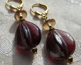 Red and Peach India Pressed Glass Beaded Dangle Earrings on Gold-Plated Findings