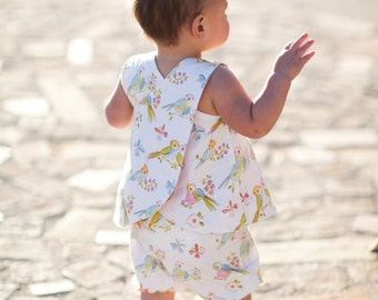 INSTANT DOWNLOAD- Mayah Reversible Pinafore and Bloomers (Sizes 9/12 months to 5) PDF Sewing Pattern and Tutorial