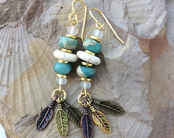 Mixed Metal Feathered earrings