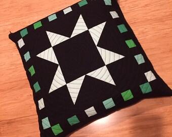 Black, Green & White Star Pillow