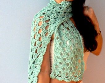 Lace crochet scarf- Chic yellow, green, blue cotton scarf- Fashion lacy crochet scarf- Boho lacy scarf accessories- Women scarf gift