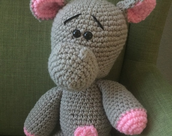 Ready to Ship***Abby the Hippo| Stuffed Animal| Crocheted Animal| Amigurumi | Handcrafted |Kids| Gift| Toy