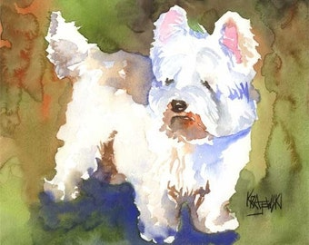 West Highland White Terrier Art Print of Original Watercolor Painting - 11x14