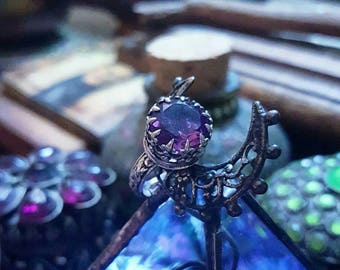 The Sorceress / Sterling silver and Amethyst Talisman ring / Artemisia Craft